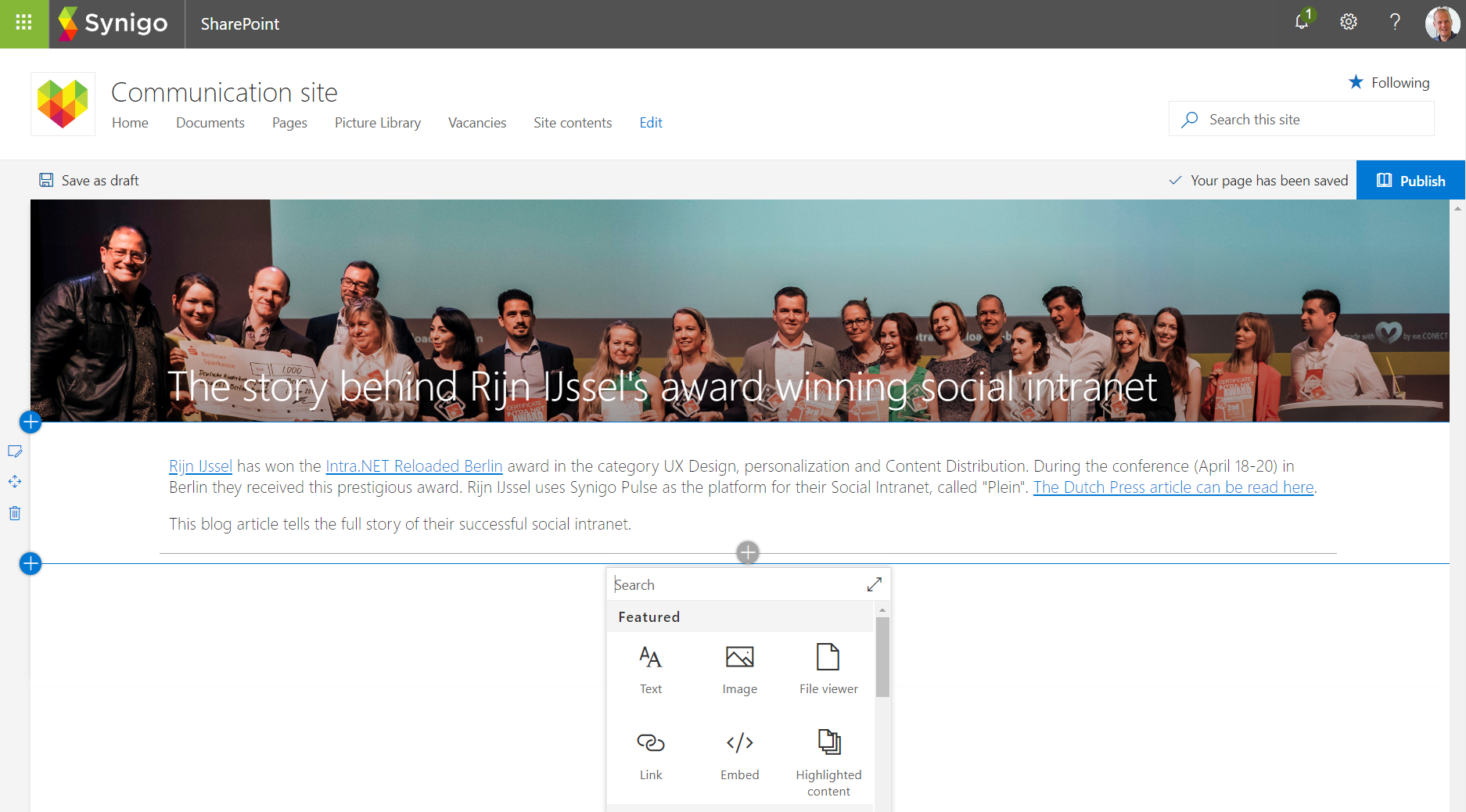 Modern SharePoint Communication Site