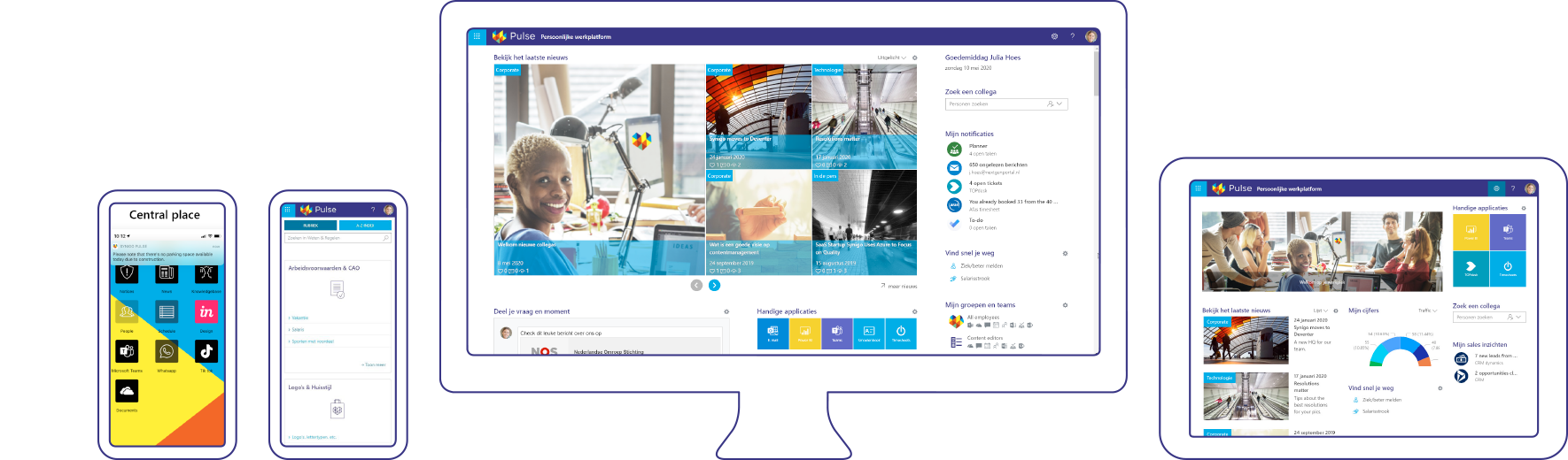 Screenshots synigo pulse, social intranet and digital workplace